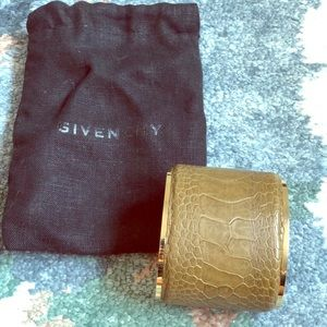 Givenchy brown hard leather gold cuff